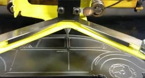 CNC Plasma Cutters engraver attachment in action
