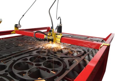 CNC Plasma Cutters Samson 510 cutting in action up close